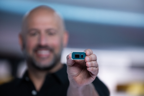 Gregory M. Bryant, Intel executive vice president and general manager of the Client Computing Group, holds an 11th Gen Intel Core processor with Intel Iris Xe graphics for the Intel global launch event on Wednesday, Sept. 2, 2020. (Credit: Walden Kirsch/Intel Corporation)