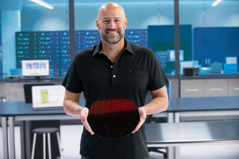 Gregory M. Bryant, Intel executive vice president and general manager of the Client Computing Group, holds a wafer based on the 10nm SuperFin process technology for the Intel global launch event for 11th Gen Intel Core processors on Wednesday, Sept. 2, 2020. (Credit: Walden Kirsch/Intel Corporation)