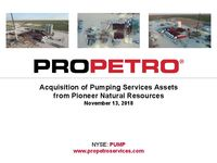 Acquisition of Pumping Services Assets from Pioneer Natural Resources