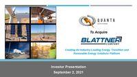 Quanta Services Acquisition of Blattner Company