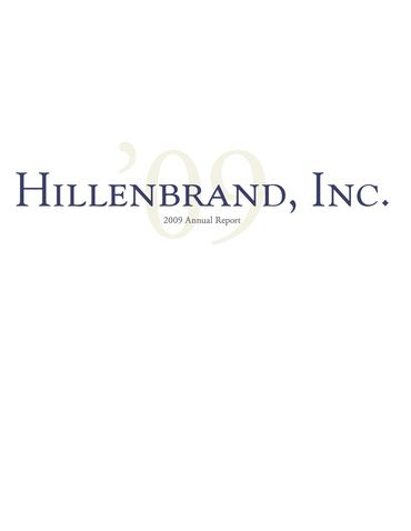 Hillenbrand, Inc. 2009 Annual Report Thumbnail