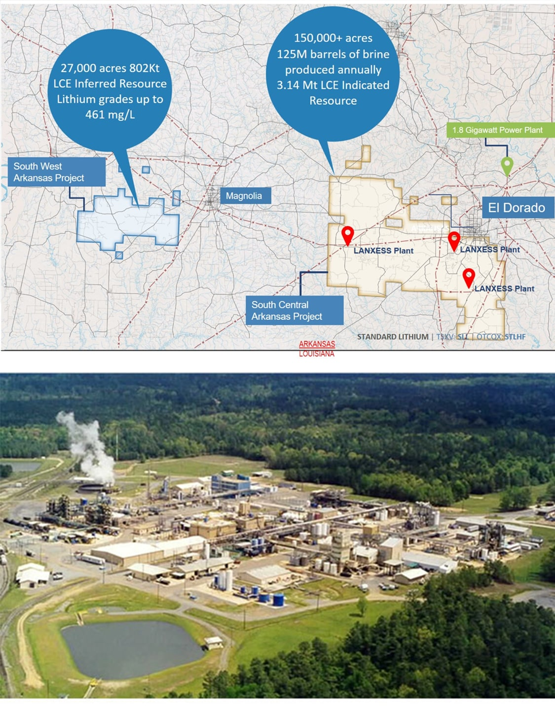 Top: Map of Lanxess Project South Central Arkansas, Bottom: Lanxess Southern Brine Plant