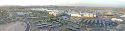 Intel's Ocotillo campus in Chandler, Arizona, is the company's largest U.S. manufacturing site. Four factories are connected by a mile-long automated superhighway to create a mega-factory network. In March 2021, Intel announced it will invest about $20 billion to build two additional factories at the Ocotillo campus. (Credit: Intel Corporation)