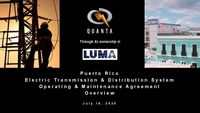Puerto Rico Electric Transmission & Distribution System Operating & Maintenance Agreement Overview