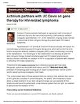 """Actinium Featured in Healio's HemOnc Today: """"Actinium partners with UC Davis on gene therapy for HIV-related lymphoma"""""""