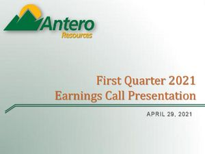 First Quarter 2021 Earnings Call