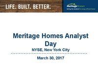 Meritage Homes Analyst Day Webcast - Slides