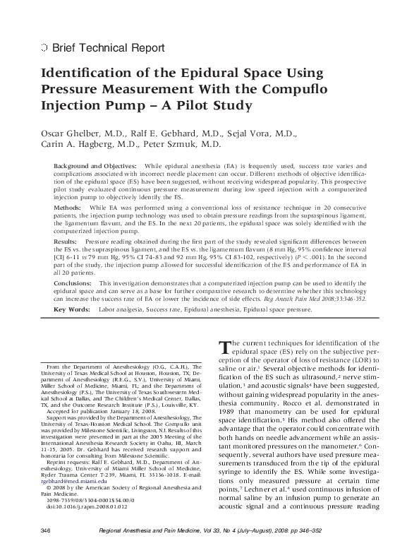 Identification of the Epidural Space Using Pressure Measurement With the Compuflo Injection Pump – A Pilot Study