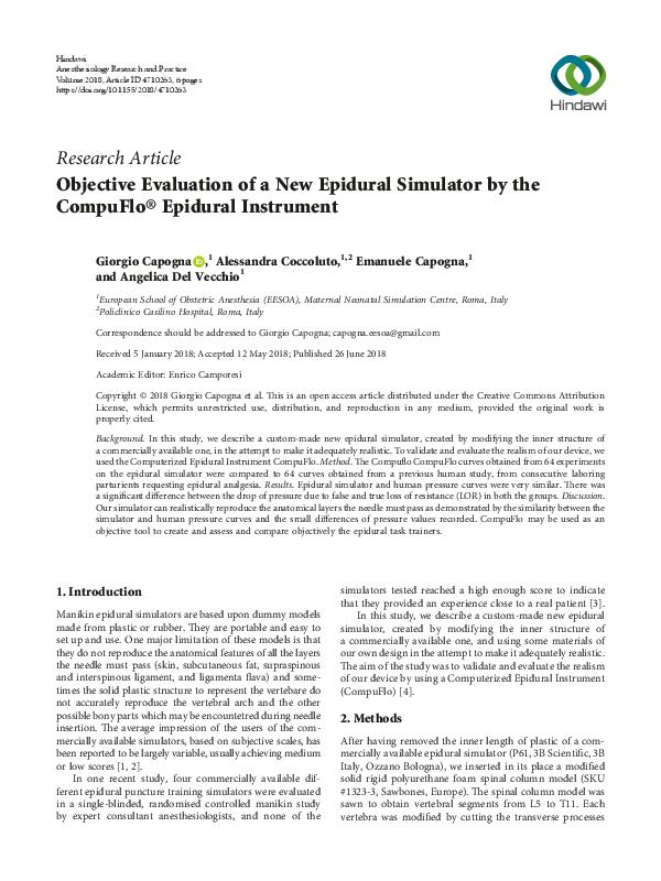 Objective Evaluation of a New Epidural Simulator by the CompuFlo® Epidural Instrument