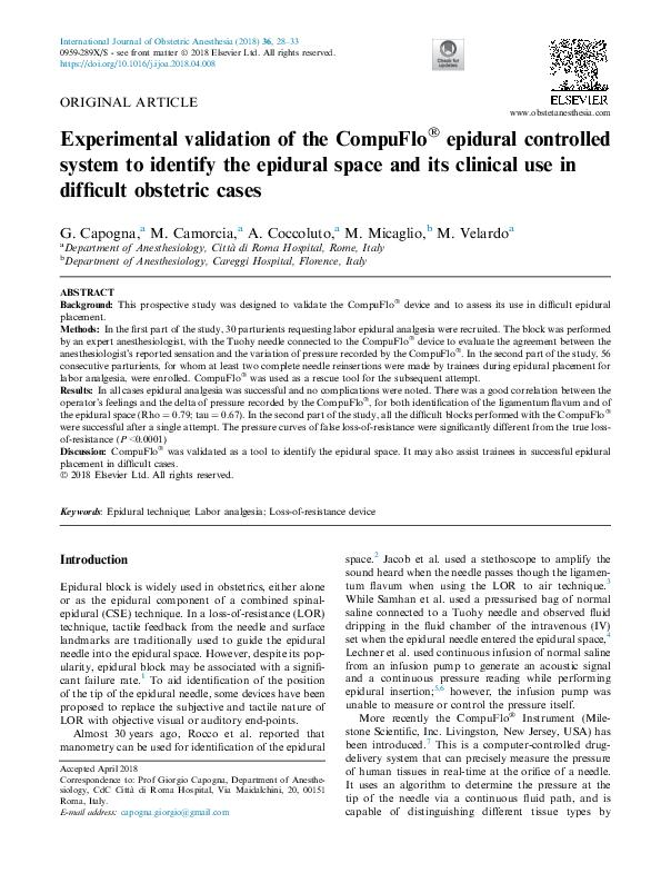 Experimental validation of the CompuFlo! epidural controlled system to identify the epidural space and its clinical use in difficult obstetric cases