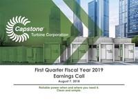 Q1 FY2019 Capstone Turbine Corporation Earnings Presentation