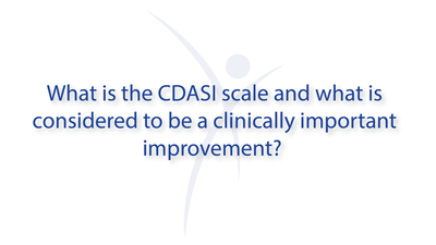 What is the CDASI scale and what is considered to be a clinically important improvement?