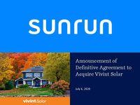 Announcement of Definitive Agreement to Acquire Vivint Solar