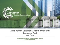Q4 FY2018 Capstone Turbine Earnings Presentation