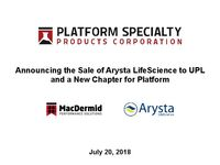 Announcing the Sale of Arysta LifeScience and a New Chapter for Platform