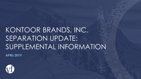 KONTOOR BRANDS, INC. SEPARATION UPDATE: SUPPLEMENTAL INFORMATION
