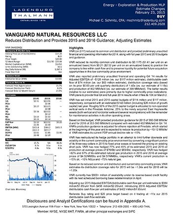 Vanguard Natural Resources LLC - Reduces Distribution and Provides 2015 and 2016 Guidance; Adjusting Estimates