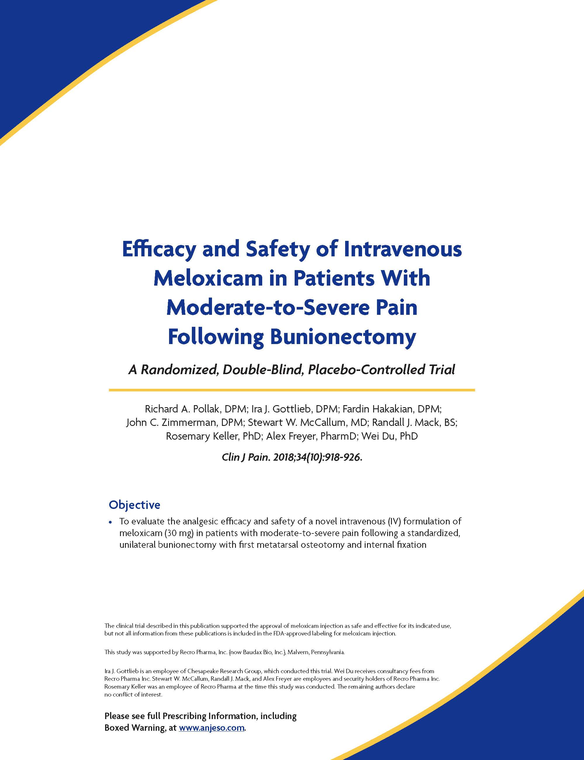 Efficacy and Safety of Intravenous Meloxicam in Patients With Moderate-to-Severe Pain Following Bunionectomy thumbnail