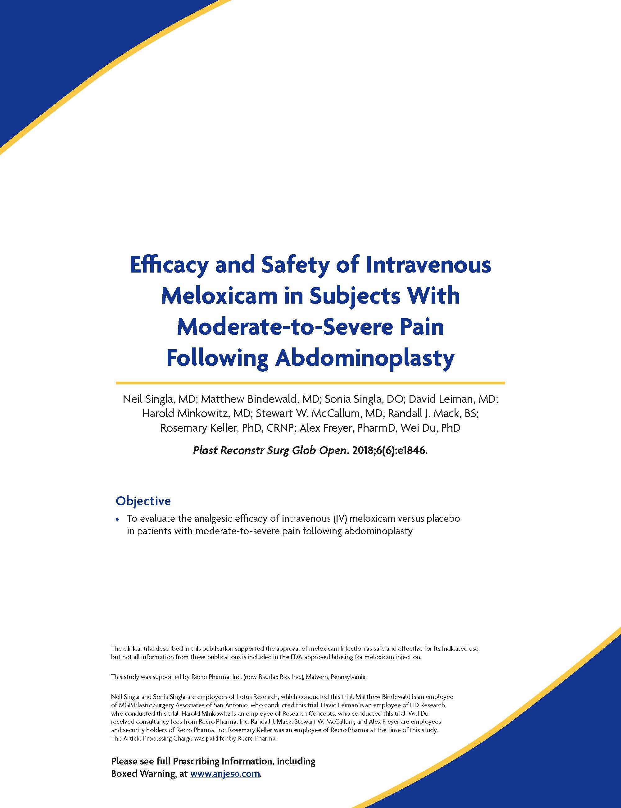 Efficacy and Safety of Intravenous Meloxicam in Subjects With Moderate-to-Severe Pain Following Abdominoplasty thumbnail