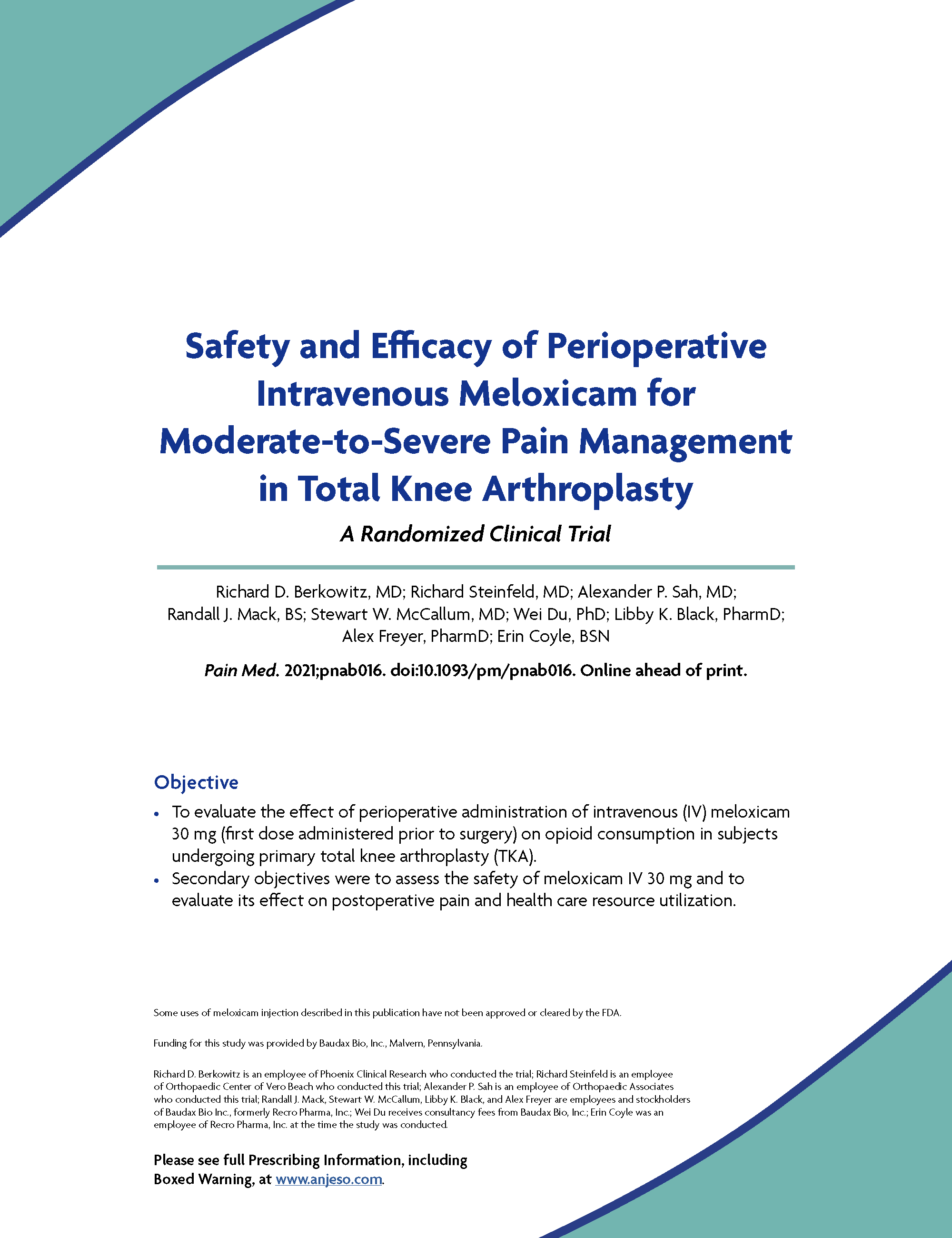 Safety and Efficacy of Perioperative Intravenous Meloxicam for Moderate-to-Severe Pain Management in Total Knee Arthroplasty thumbnail