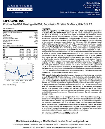 Lipocine Inc. - Positive Pre-NDA Meeting with FDA; Submission Timeline On-Track, BUY $24 PT