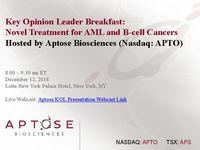 Key Opinion Leader Breakfast: Novel Treatment for AML and B-cell Cancers
