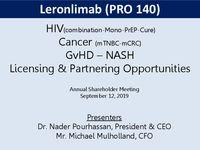 Annual Stockholder Meeting Presentation, September 2019