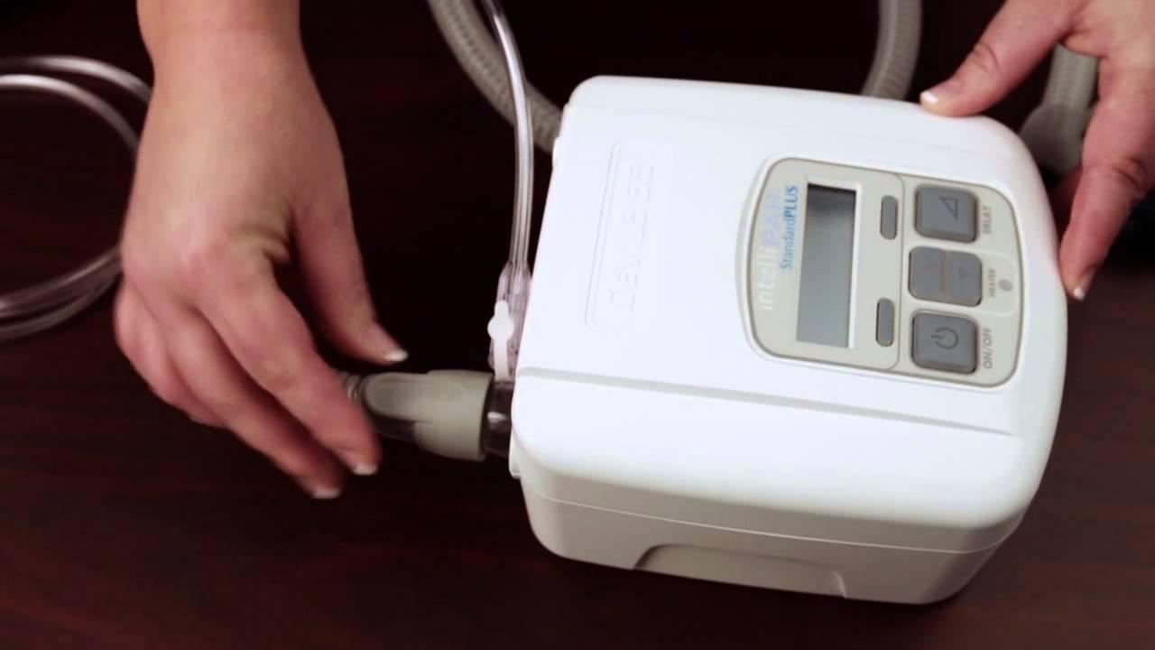 إعداد جهاز Inogen At Home - الاستخدام مع جهاز ضغط مجرى الهواء الإيجابي المستمر (CPAP) أو جهاز ضغط مجرى الهواء الإيجابي ثنائي المستوى (BiPAP)
