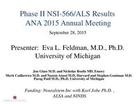 NSI-566 ALS Phase I/II Data Presentation by Eva Feldman, PhD, MD – 2015 ANA Annual Meeting