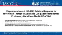 Viagenpumatucel-L (HS-110) Bolsters Response to Nivolumab Therapy in Advanced Lung Adenocarcinoma: Preliminary Data From The DURGA Trial Heat Biologics 2016