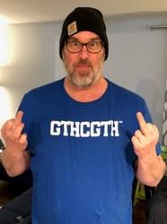 "Tim says ""I don't need no friggin' foam finger! GTHCGTH!!"""
