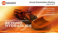 Sun Hydraulics Corporation 2017 Annual Meeting Presentation