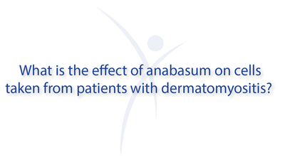 What is the effect of anabasum on cells taken from patients with dermatomyositis?