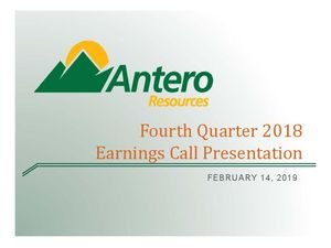Fourth Quarter 2018 Earnings Call Presentation