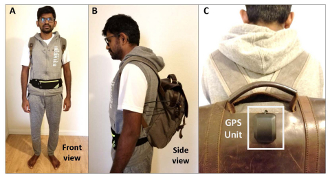 Jagadish K. Mahendran models his AI-powered, voice-activated backpack that can help the visually impaired navigate and perceive the world around them. (Graphic: Business Wire)