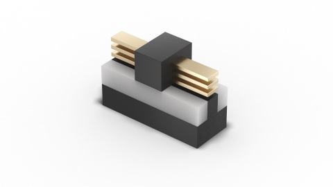 Intel's new RibbonFET technology, the company's implementation of a gate-all-around transistor, is displayed as part of the