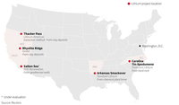 Five major lithium projects underway in United States