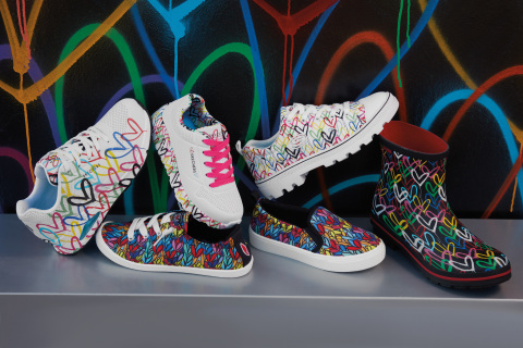 The Skechers x JGoldcrown collaboration features iconic Love Wall designs on a range of footwear for women and girls. (Photo: Business Wire)