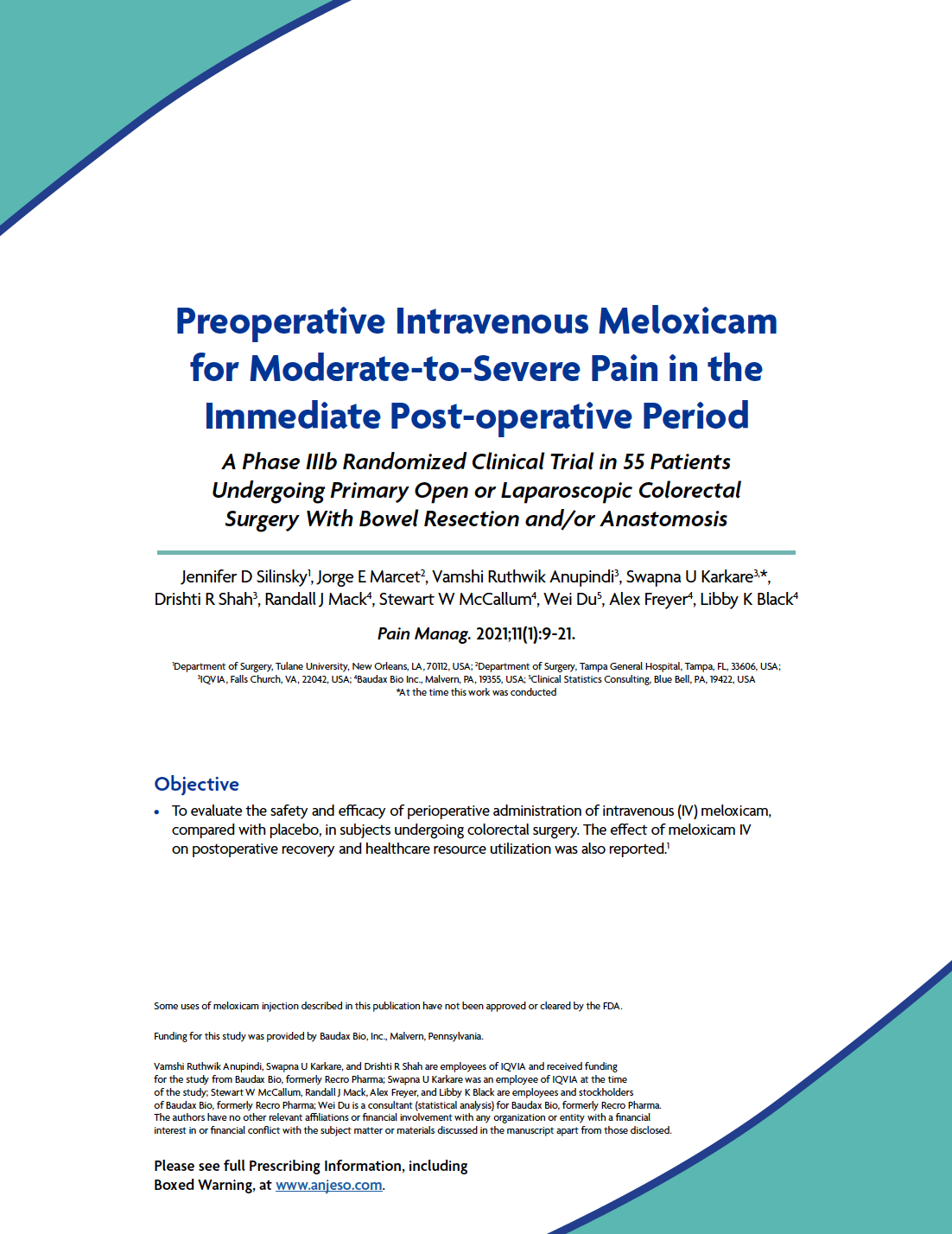 Preoperative Intravenous Meloxicam for Moderate-to-Severe Pain in the Immediate Post-operative Period thumbnail