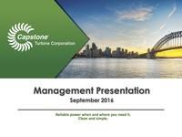 Management Presentation - September 2016