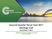 Second Quarter Fiscal Year 2017 Earnings Call - November 9, 2016