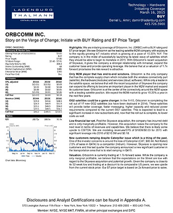 Orbcomm Inc. - Story on the Verge of Change; Initiate with BUY Rating and $7 Price Target
