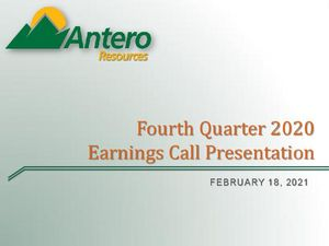 Fourth Quarter and Full Year 2020 Earnings Call