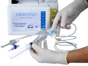Connect the pre-filled saline syringe to the pressure sensor.