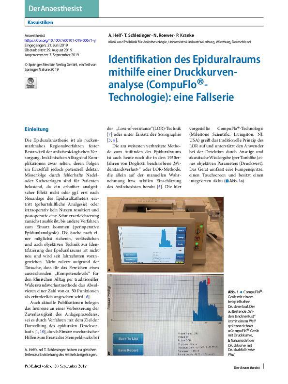 Identifikation des Epiduralraums m i t h i l f e e i n e r D r u c k® k u r v e n - analyse(CompuFlo - Technologie): eine Fallserie