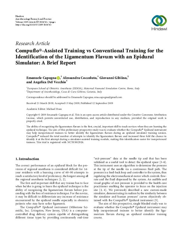 Compuflo®-Assisted Training vs Conventional Training for the Identification of the Ligamentum Flavum with an Epidural Simulator: A Brief Report