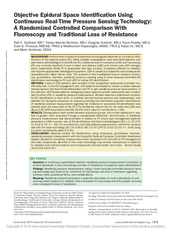 Objective Epidural Space Identification Using Continuous Real-Time Pressure Sensing Technology: A Randomized Controlled Comparison With Fluoroscopy and Traditional Loss of Resistance
