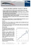 Paringa Records Quarterly Sales of US$5.7 Million