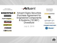 "Actuant Signs Securities Purchase Agreement for Engineered Components & Systems (""EC&S"") Divestiture"