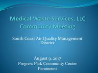 SCAQMD Presentation to Paramount Community Meeting on August 9, 2017